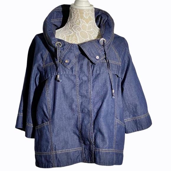 Nine West Jeans Oversized Denim Jacket 3/4 sleeve